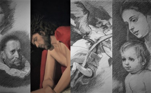 A small collection of images which represent what can be seen on my webpage.  It's all classical realism!